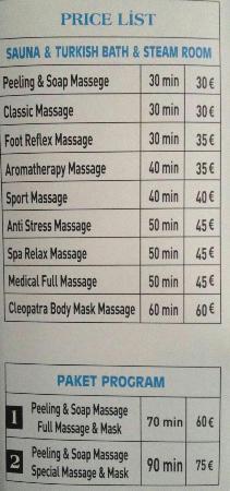 Mere Hotel Spa Price List