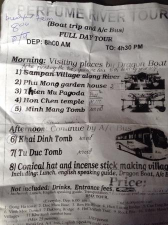 Binh Minh Sunrise Hotel : Perfume River tour itinerary
