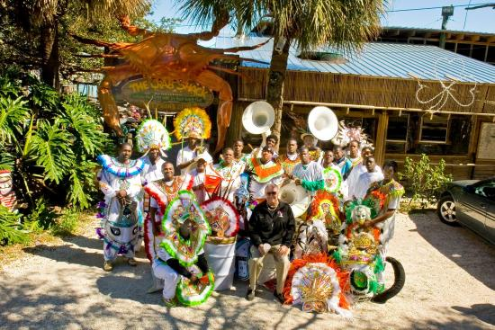 Jack with the Junkanoo performers Barabbas and the Tribe