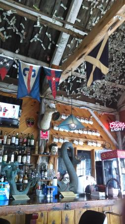 Castine, ME: Many visitors have left money on the ceiling!