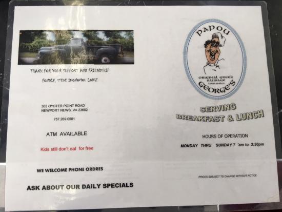 Newport News, VA: menu
