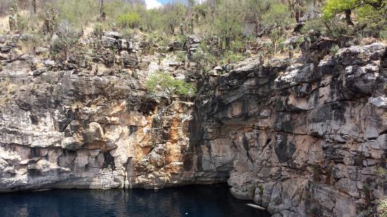 """Oshikoto, Namibia: Vista hacia una """"caverna"""" del lago"""