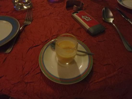 A complimentary pre-appetizer- potato soup that was great.