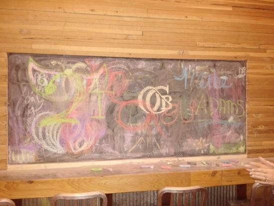 Wellington, CO: chalk board at Old Colorado Brewing Co