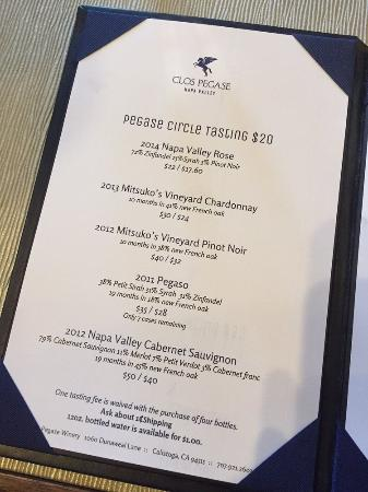 Clos Pegase Winery: Wine tasting menu