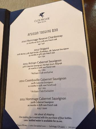 Clos Pegase Winery: Wine tasting menu page 2