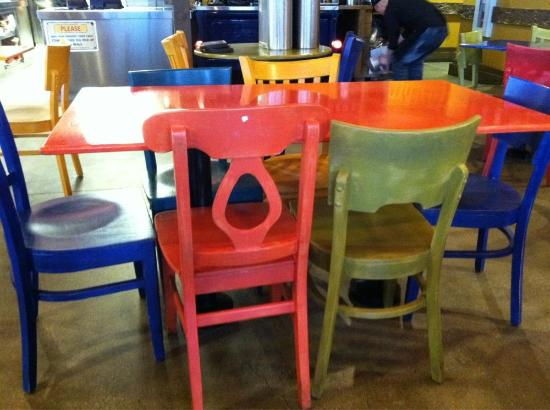 Cafe Rio: Colorful Chairs.