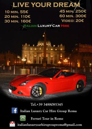 Price List Picture Of Italy Luxury Car Hire Rome Tripadvisor
