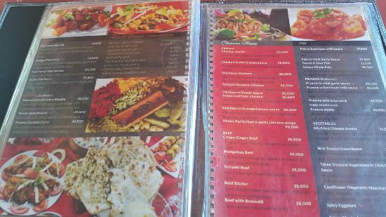 Fairway Hotel menu for the asian fusion restaurant