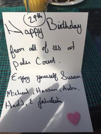 Palm Court Italian Grill 29th Happy Birthday Card From Michael Hassan