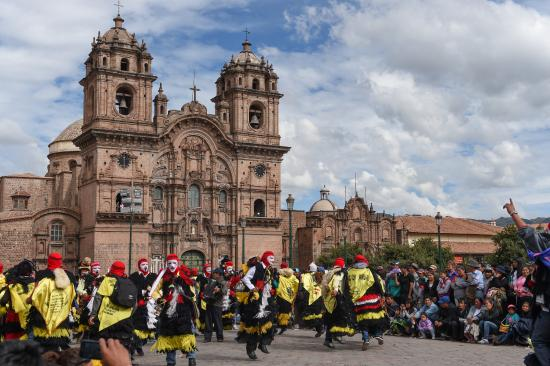 Festival in the town square of Cusco, Peru