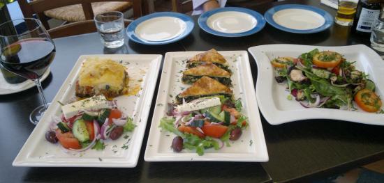 Moussaka, Spanako Pita (spinach pie), Octopothi Salata (octopus salad)