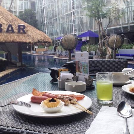 Breakfast By The Pool Area Picture Of Grand Mega Resort Spa