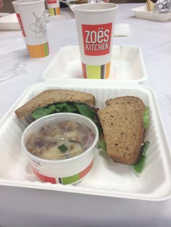 Zoes Kitchen Chicken Salad Sandwich iced tea, chicken salad sandwich and grilled potato salad