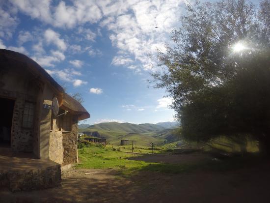 Mokhotlong, Lesotho: Der Ausblick direkt vor unserem Zimmer in Richtung Tal.