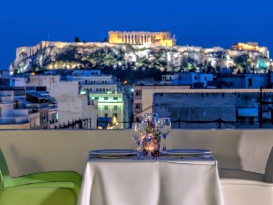 Polis Grand Hotel Roof Top Acropolis View Bar Restaurant