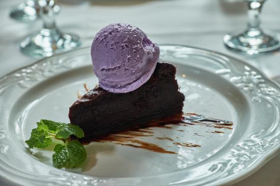 Chef Jessie Restaurants : Flourless chocolate cake with a scoop of ube/macapuno ice cream.