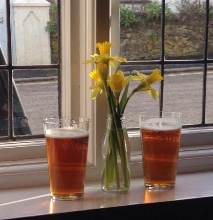Portscatho, UK: What better in the spring than a pint of Tribute sat in a warm sunny window blisssss