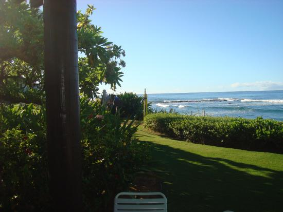 Kiahuna Plantation Resort: This shot was taken from our lanai and shows the entrance to the beach walkway.