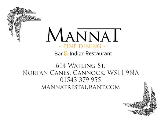 Cannock, UK: Mannat Bar & Indian Restaurant