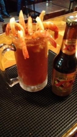 Abbotsford, WI: La Botanera La Rivierea Michelada whit Shrimp or Oisters try it