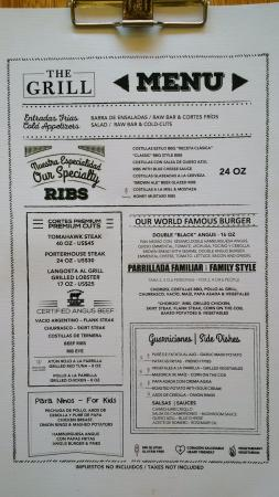 Steakhouse menu picture of the reserve at paradisus for Fish river grill menu