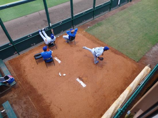 Bradenton, FL: the a pitcher getting warmed up in the bullpen