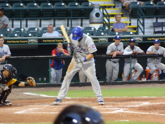 Bradenton, FL: a cubs player getting ready to hit a homer