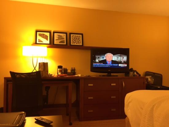 Courtyard Fayetteville: View from the sofa in a King room.