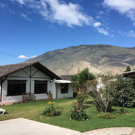 The view of the Andes from the hotel's internal courtyard