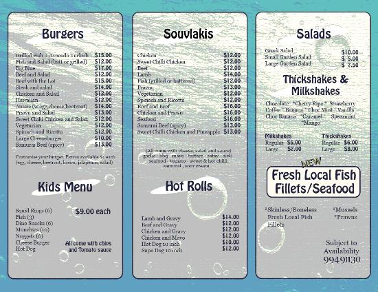 Menu page 1 picture of blue lips fish chips exmouth for Two fish menu