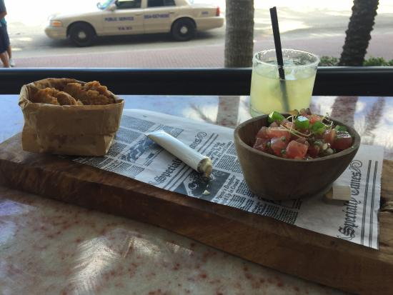 Burlock Coast: tune tartare with plantains chips