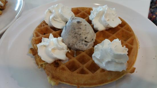 classic waffles with one scoop of ice cream - Picture of Gelare Cafe ...