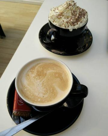 Munchies: Hot chocolate and a flat white