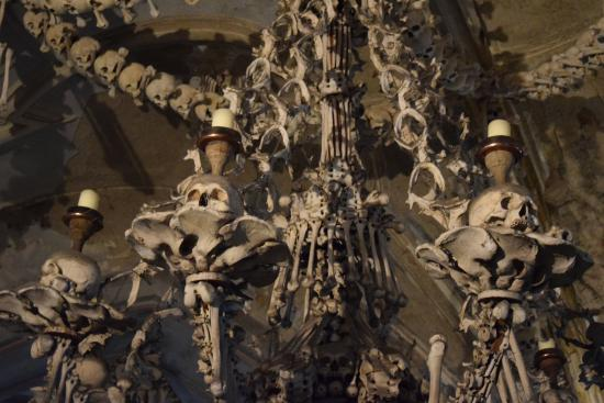 Bone chandelier main room picture of ossuary and the cathedral of ossuary and the cathedral of assumption of our lady and saint john the baptist chandelier aloadofball Image collections
