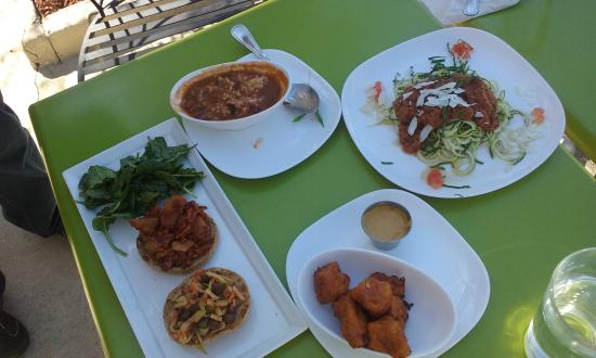 Seed: Barbecue seitan sandwich, gumbo (rice has been mixed in), veggie spaghetti, tofu nuggets