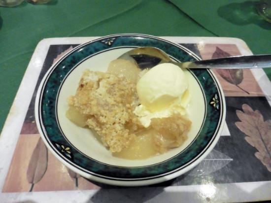 Four Saints Brig-y-Don Hotel: An apple crumble option for dessert
