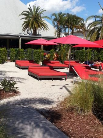 Port Saint Lucie, FL: Loungers and beds by the resort pool