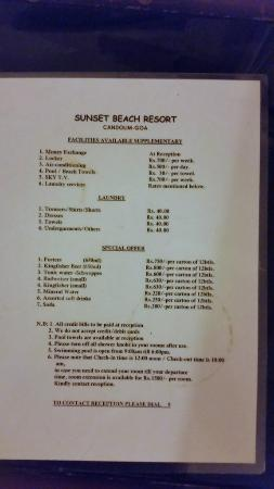 "Sunset Beach Hotel: cost of ""Extras"""