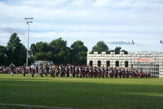 Mass bands at the Paeroa Highland Games