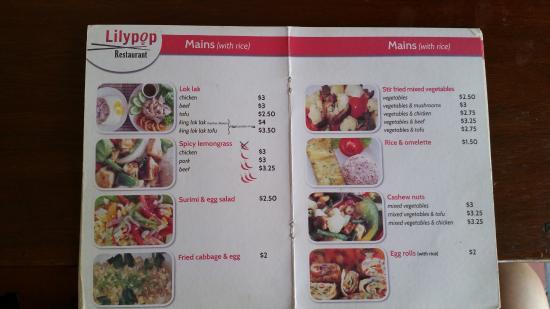 Lilypop Restaurant: Menu