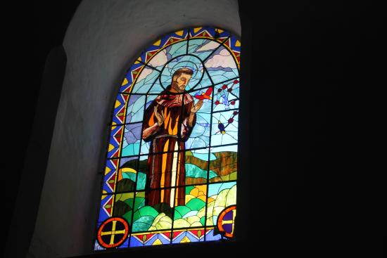 Izamal, Mexico: Stained glass window (St. Francis) in chapel.