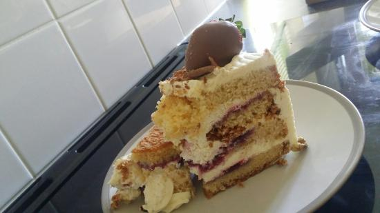 Fancy Cakes Patisserie: Gluten free goats cheese and red onion chuckny with gluten free coffee & walnut cake and strawbe