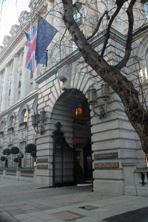 the entrance to the rosewood hotel and holborn dining room (left