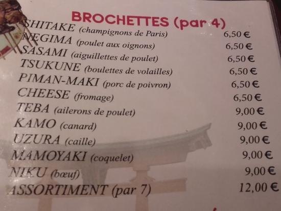 Osaka: menu
