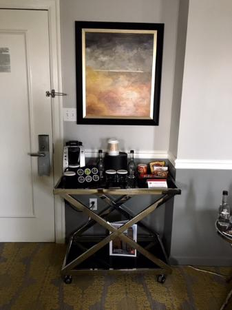 front door tableKeurig Table by front door  Picture of Ambassador Hotel Tulsa