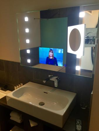tv in the bathroom mirror picture of hotel mainport rotterdam rh tripadvisor com