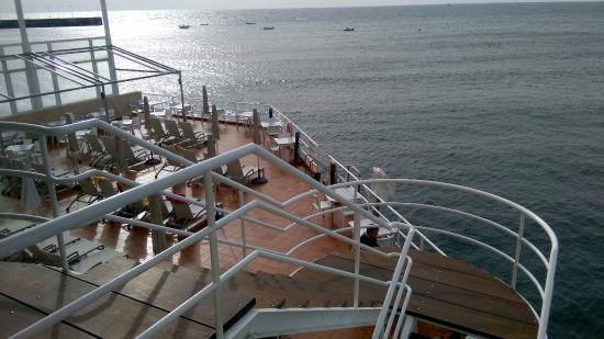 El Medano Hotel: One of the decks from the dining room.