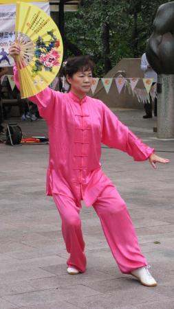 Tai Chi with fan Kung Fu corner