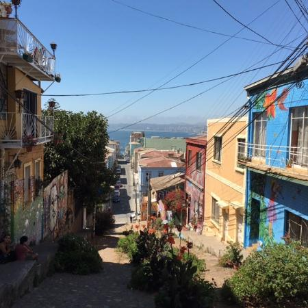 """Cerro Concepcion: Typical """"downhill"""" street with sea view"""